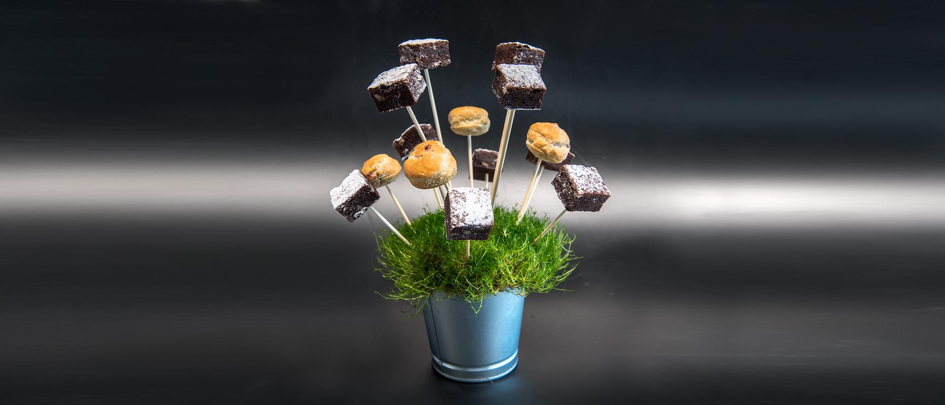 Mini Brownies und Mini Windbeutel vom Spiess auf der Wiese, ausgefallenes Flying Dessert